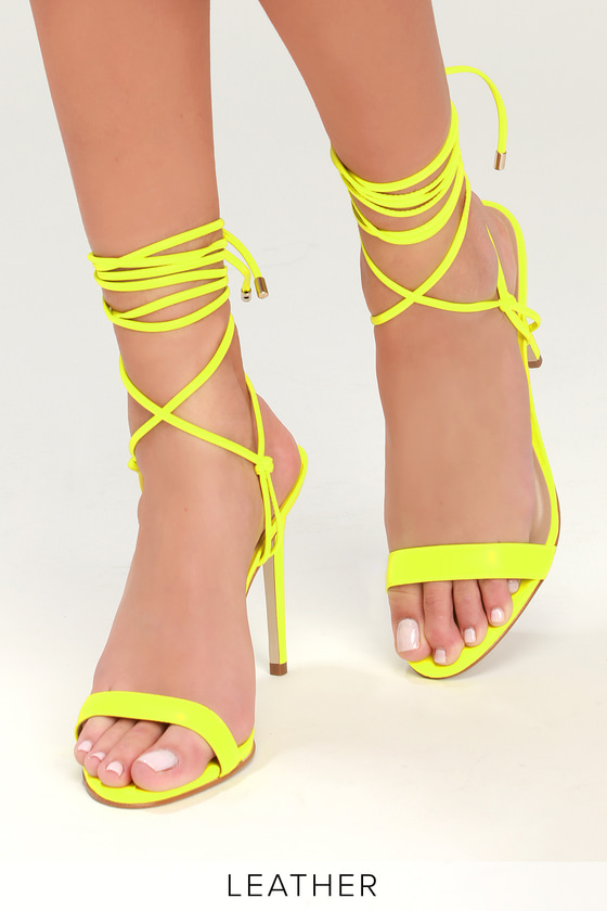 6c534c1d164 Steve Madden Level - Lime Lace-Up Heels - Leather Lace-Up Heels