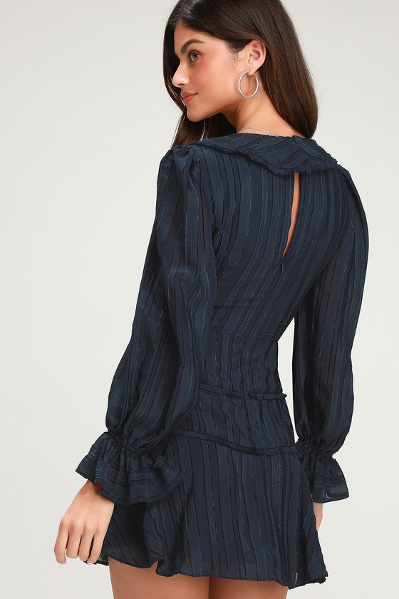 0391078fd4 Finders Keepers Soraya - Navy Blue Dress - Long Sleeve Mini Dress