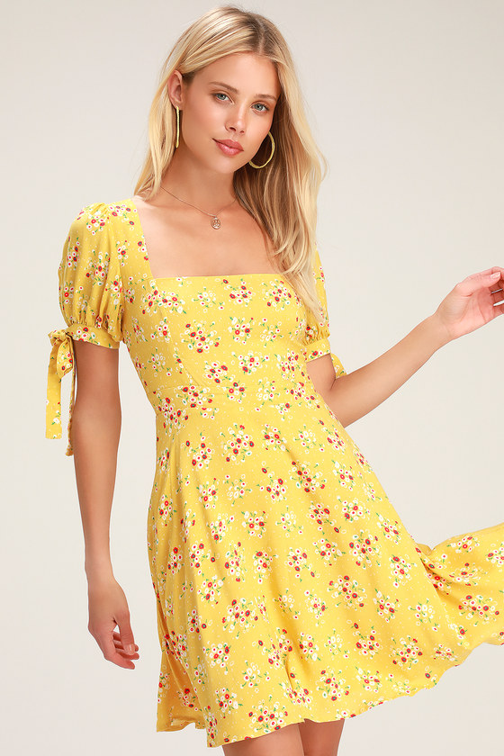 ef1be1acea194 Lovely Yellow Dress - Floral Print Skater Dress - Mini Dress