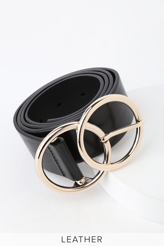 fdfb375aa5a Can't Be Beat Black Leather Double Circle Buckle Belt