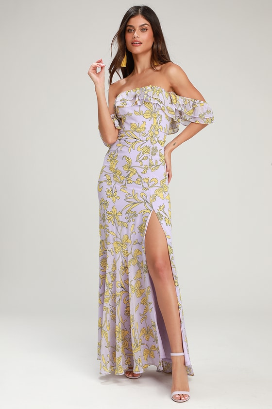 7d4045754cea Floral Maxi Dress - Off-the-Shoulder Maxi Dress - Lavender Dress