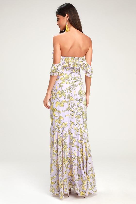 beaf33f3921c Floral Maxi Dress - Off-the-Shoulder Maxi Dress - Lavender Dress