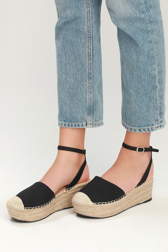 ae80a33ce8 Black Espadrilles - Flatform Shoes - Flat Espadrilles