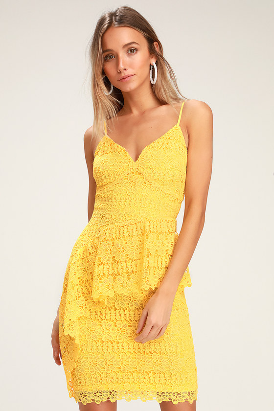 22face05476 Lovely Yellow Dress - Crocheted Lace Dress - Ruffled Dress