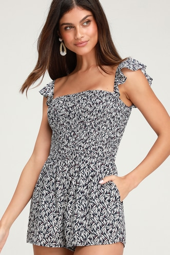 c7aed5d0ed3 Majorca Navy Blue and White Floral Print Off-the-Shoulder Romper