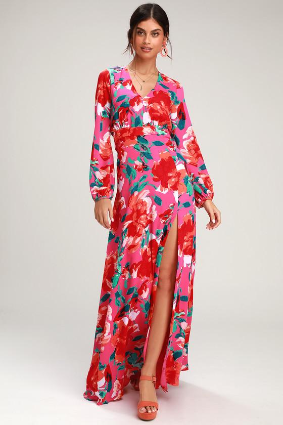 6213fdc2910 Magenta Floral Print Dress - Maxi Dress - Long Sleeve Dress