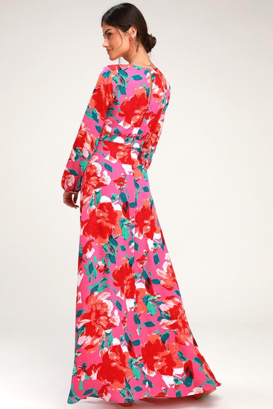 631cc21f56 Magenta Floral Print Dress - Maxi Dress - Long Sleeve Dress