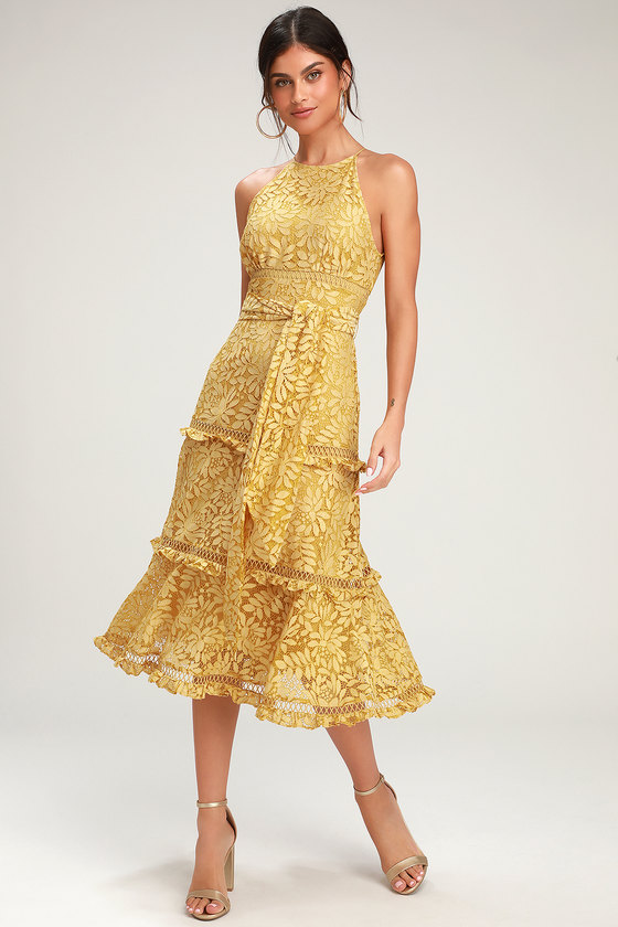 Imagine Golden Yellow Lace Midi Dress