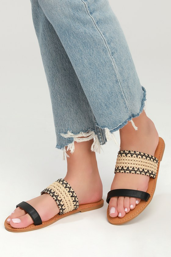530a02550471 Cute Black Sandals - Slide Sandals - Woven Sandal - Black Shoes