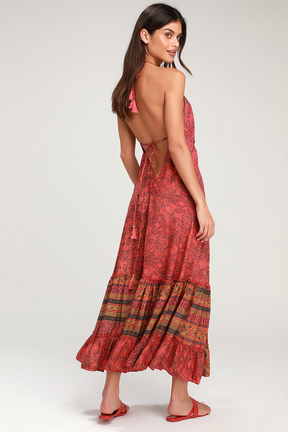 18241dc8233d Raga Passion Struck Halter Maxi - Boho Maxi Dress - Backless Maxi