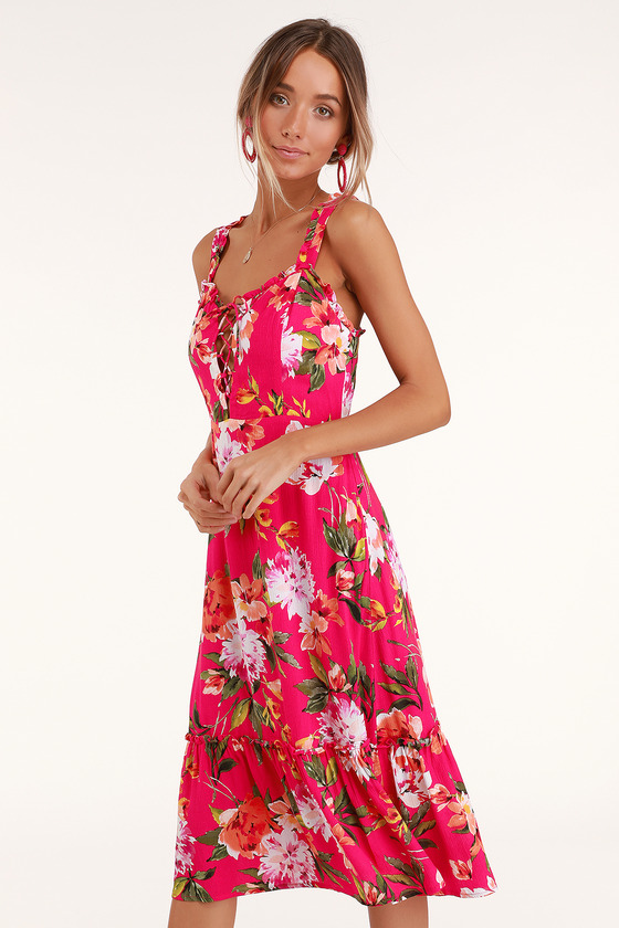 Cute Pink Floral Print Dress Fuschia Dress Lace Up Dress