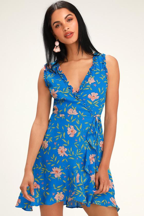 LAVINA BLUE FLORAL PRINT RUFFLED WRAP DRESS
