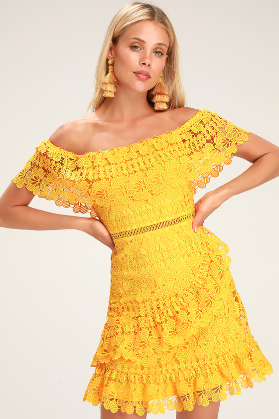 FRILL AND GRACE YELLOW LACE OFF-THE-SHOULDER DRESS