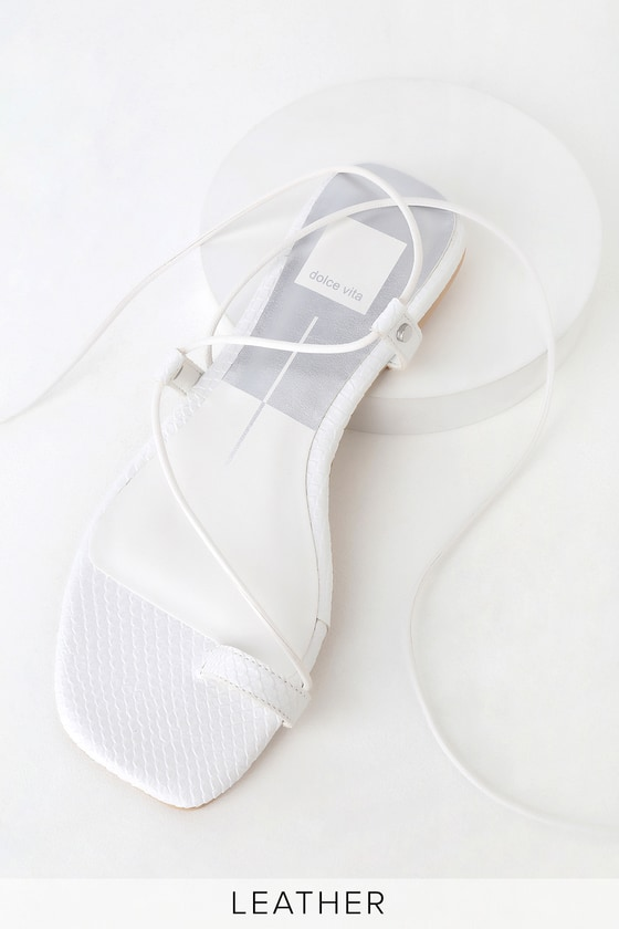 07108024c1075 Dash White Leather Lace-Up Sandals