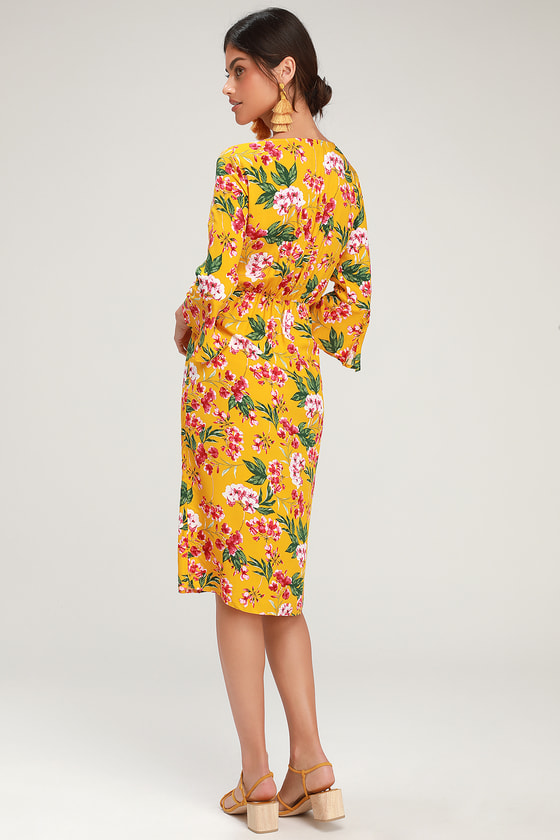 c72cbfb28f1e April Golden Yellow Floral Print Tying Button Front Midi Dress
