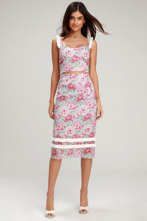 fecd84d9d5 WAYF Tamera Skirt - Floral Print Midi Skirt - Pencil Skirt