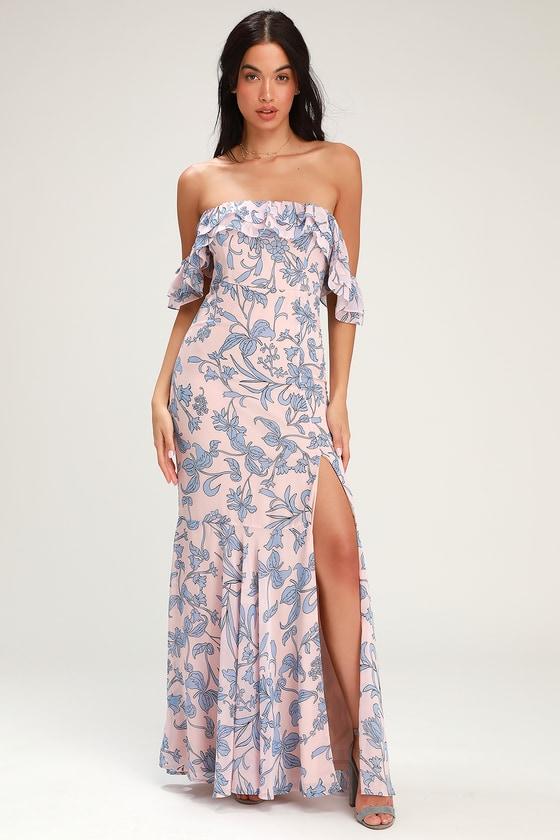 1fa0b2f42fe Floral Maxi Dress - Off-the-Shoulder Maxi Dress - Blush Dress