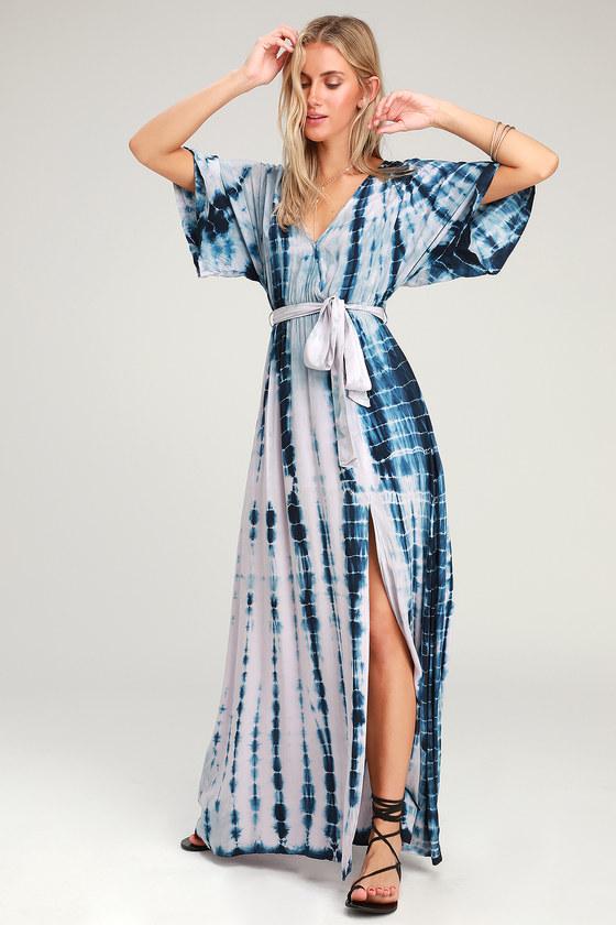 b65cc883dfb Boho Navy Blue and Lavender Dress - Tie-Dye Dress - Maxi Dress -  68.00
