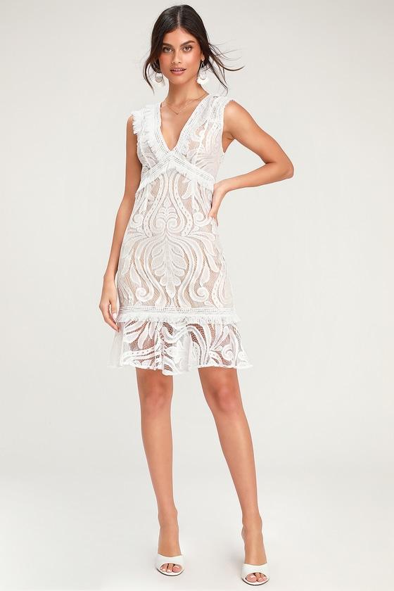 1e45e2110627 RYSE the Label Michi - White Lace Dress - White Lace Mini Dress