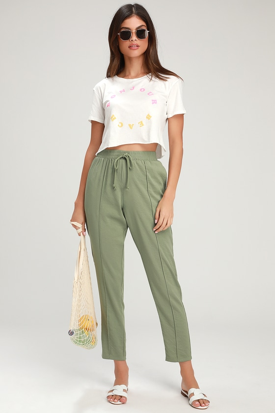 Intercity Sage Green High Waisted Pants by The Fifth Label