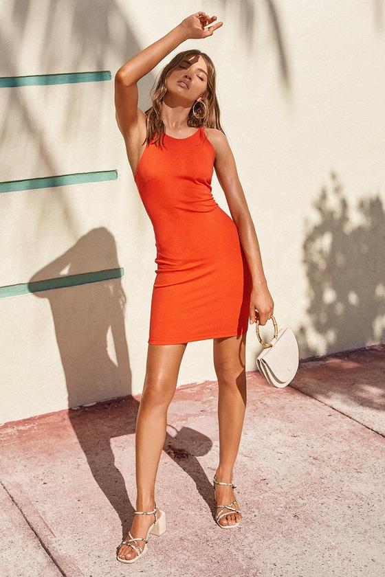 35556cabe4fbb Sexy Red Orange Dress - Bodycon Dress - Sleeveless Dress