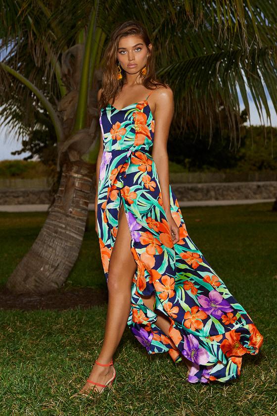 88374e2c17e Lovely Navy Blue Floral Print Dress - Satin Dress - Maxi Dress