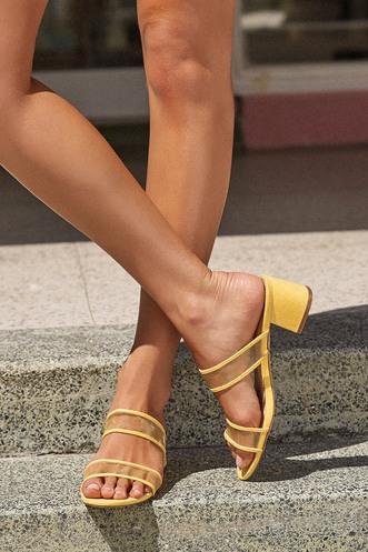 82de8f5bc62 Saar Yellow Suede Block Heel Slides