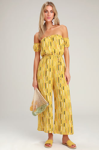22dc47136108 True Radiance Yellow Multi Print Off-the-Shoulder Jumpsuit