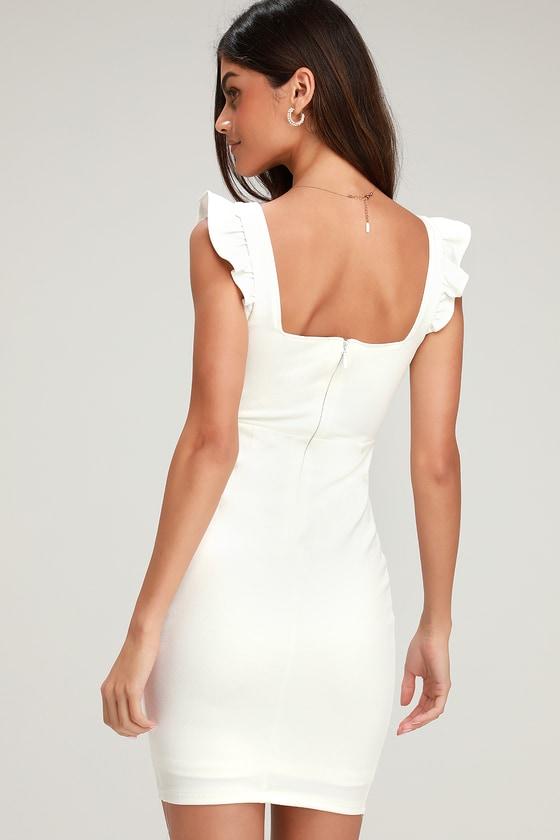 0654ce65ba62 Cute White Dress - Bodycon Dress - Ruffled Dress - LWD