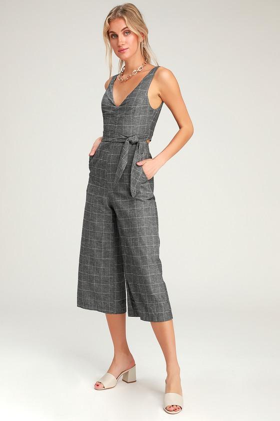 5e87c0fb758 Chic Grey Plaid Jumpsuit - Tie-Front Jumpsuit - Culotte Jumpsuit