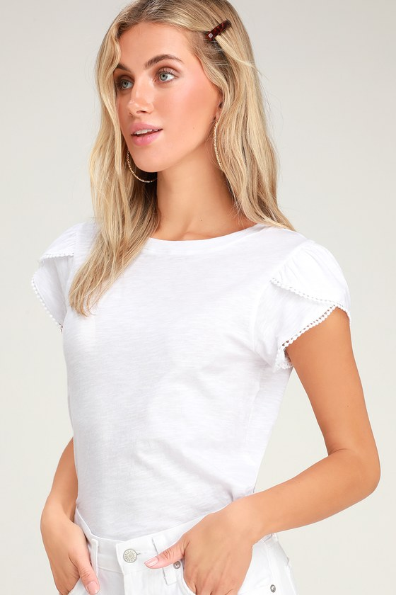 347f233f8c Cute White Tee - Tulip Sleeve Shirt - White T-Shirt - Casual Tee