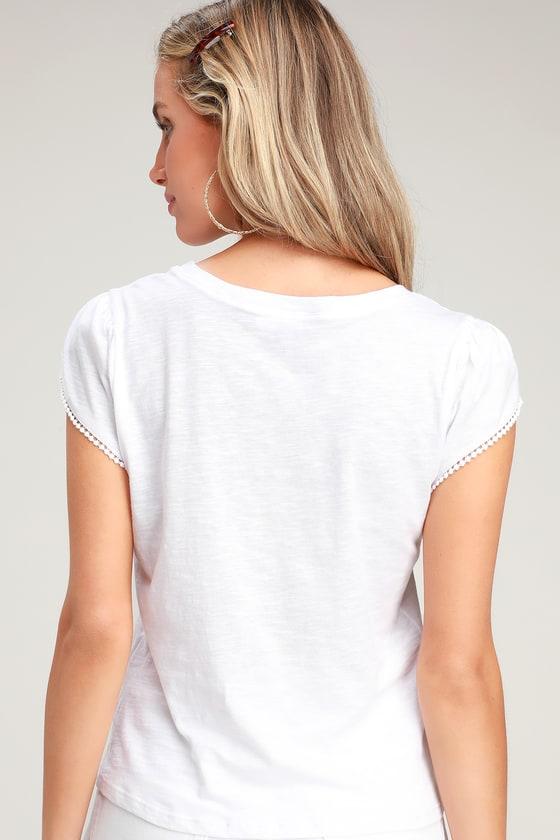 2a01c6b2 Cute White Tee - Tulip Sleeve Shirt - White T-Shirt - Casual Tee