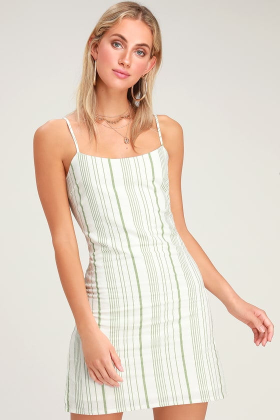feb793140931 Cute Striped Mini Dress - Light Green Striped Dress - Shift Dress