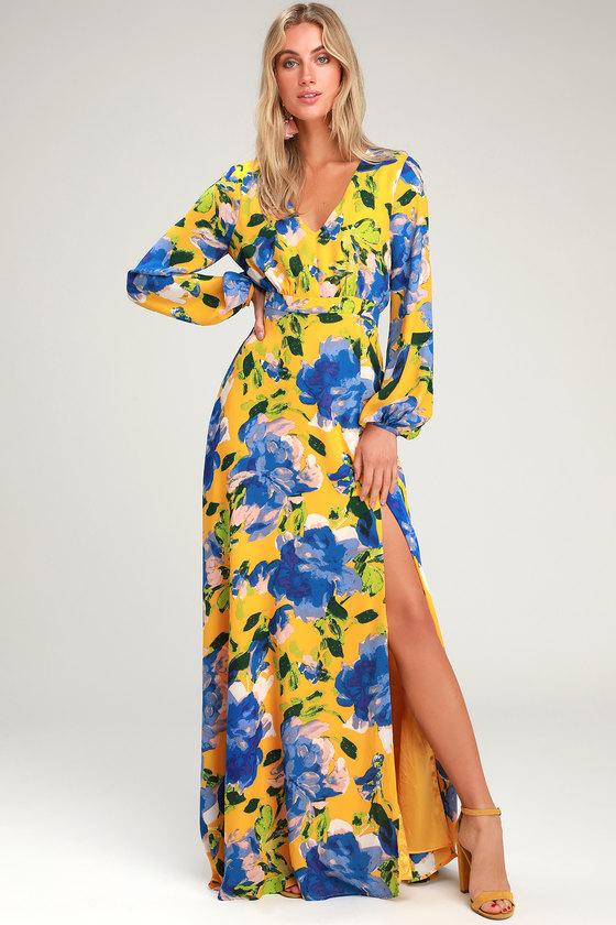 23fa4317f7d Yellow Floral Print Dress - Maxi Dress - Long Sleeve Dress