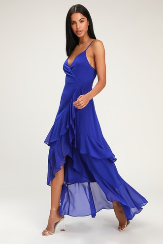c8e1d54a076 Right This Sway Cobalt Blue Ruffled Maxi Dress