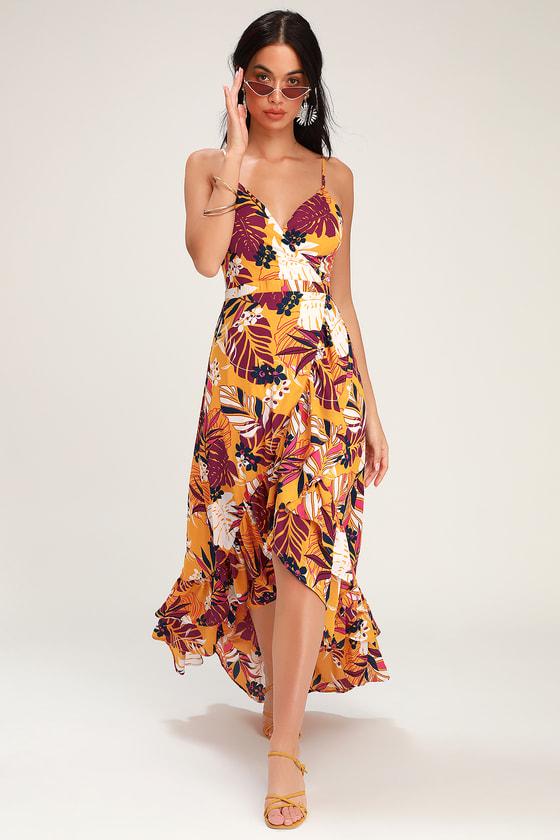 Retro Tiki Dress – Tropical, Hawaiian Dresses Vacation Days Golden Yellow Tropical Print High-Low Dress - Lulus $78.00 AT vintagedancer.com