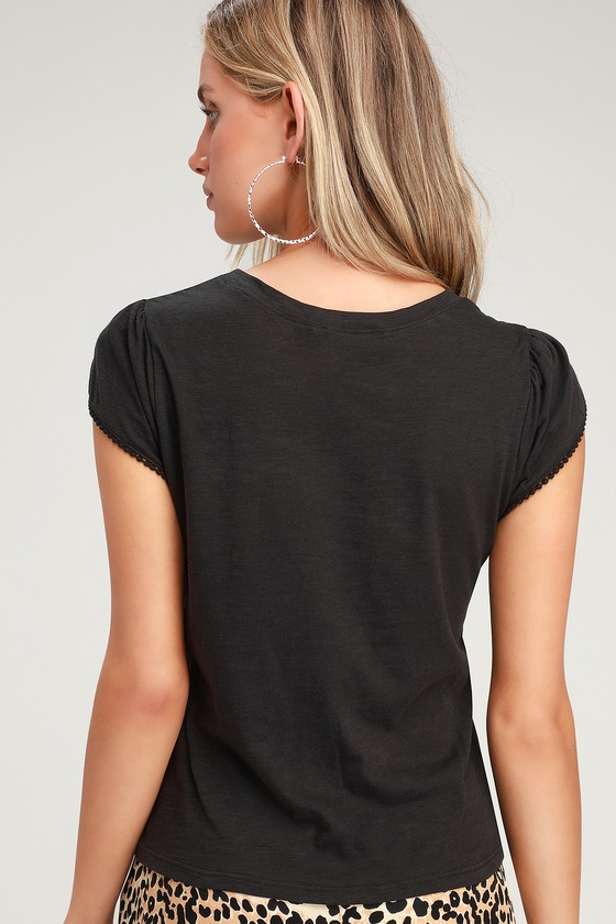 544df791 Cute Black Tee - Tulip Sleeve Shirt - Black T-Shirt - Casual Tee