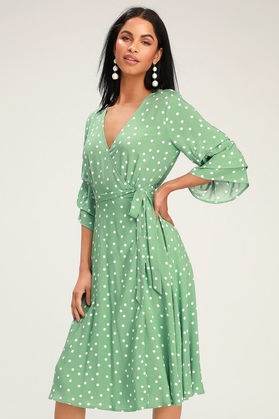 3184320546 Chic Green Dress - Green Polka Dot Dress - Flounce Sleeve Dress