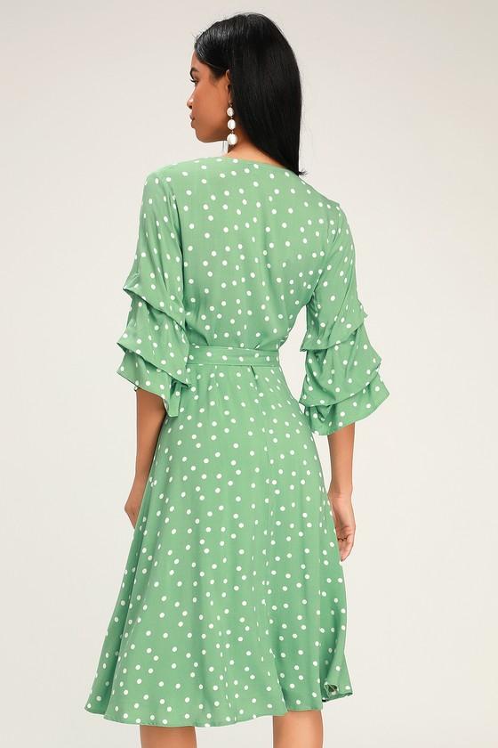 61b7bc1c8db Chic Green Dress - Green Polka Dot Dress - Flounce Sleeve Dress