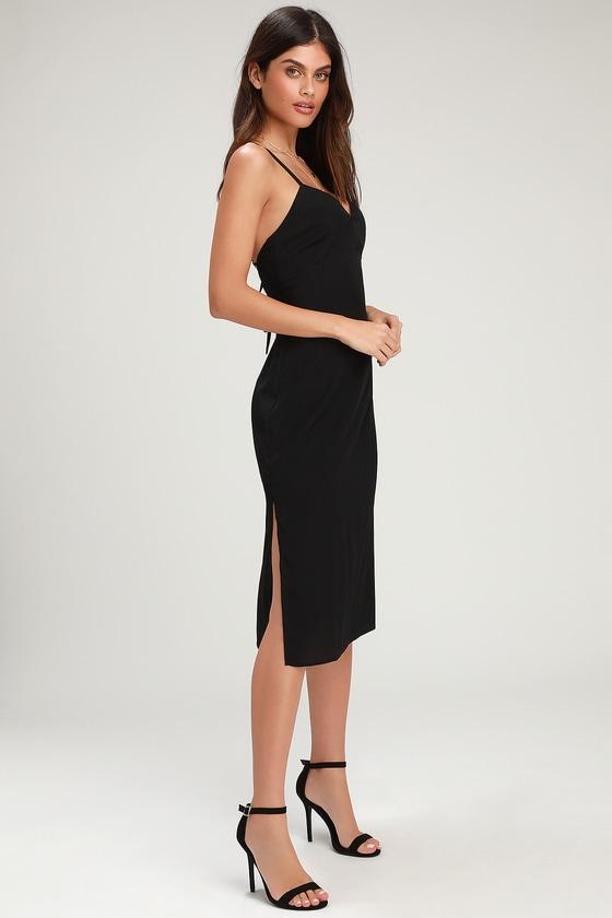 b9650e0378 Cute Black Dress - Black Midi Dress - Black Empire Waist Dress