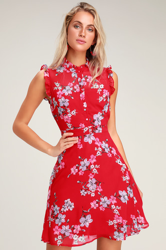 b05c3154eaa5 Porch Swing Red Floral Print Skater Dress