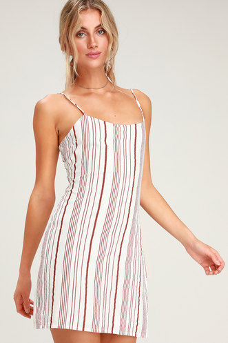 58b6f5b75a07 Honey Sweet Rust Red Striped Mini Dress