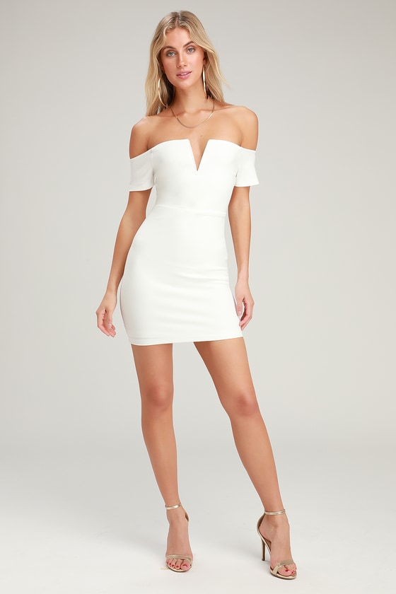 75cbcc72dc4 Sexy White Dress - Off-the-Shoulder Dress - White Bodycon Dress