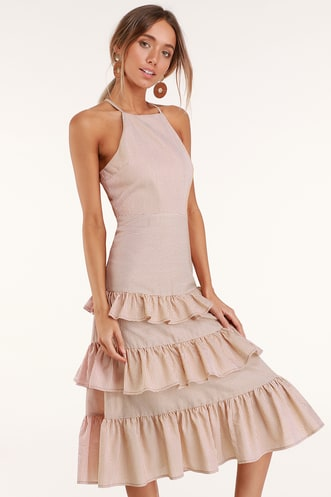 1f0b8caa772 Gentle Breeze Orange Striped Ruffled Midi Dress