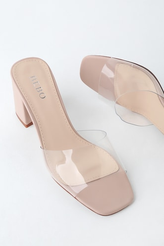 1011ac32d07b2 My Clementine Clear and Nude Vinyl Peep-Toe Mules