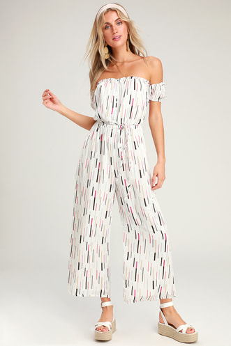 b94d6f006cd9 True Radiance White Multi Print Off-the-Shoulder Jumpsuit