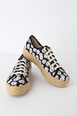 5267905c12feb6 Triple Kick Daisy Black Platform Espadrille Sneakers