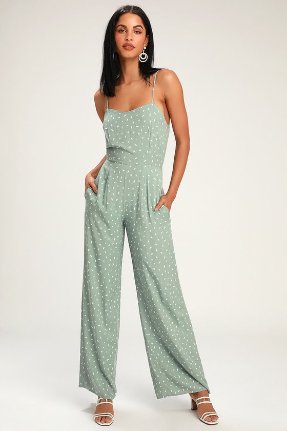 48669e1d34e3 Cute Sage Green Print Jumpsuit - Sleeveless Wide-Leg Jumpsuit