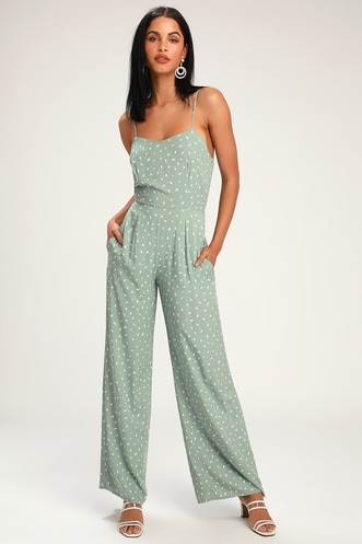 8f7a3abdd46 Shawnee Sage Green Print Sleeveless Wide-Leg Jumpsuit