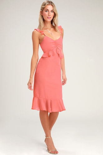 792338838287 Lovely in Love Coral Pink Ruffled Midi Dress